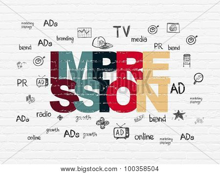 Advertising concept: Impression on wall background