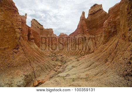 Amazing Bright Orange Walls Of Canyon In Tatacoa Desert