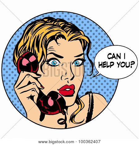 Communication phone woman said I can help you. Business work ser