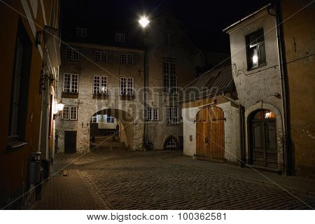 Night Street In The Old City Of Riga