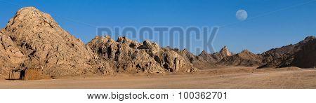 Egypt sand desert under the Moon