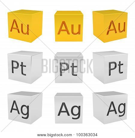Noble metal cubes, gold, silver, platinum