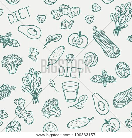 Vegetables Seamless Pattern. Healthy Eating Background