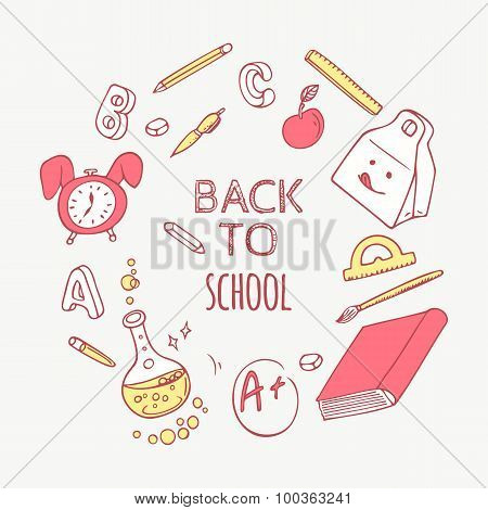 Back To School Doodle Objects Background. Hand Drawn School Supplies