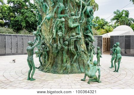 MIAMI,USA - JULY 31, 2015 : Detail of the Holocaust Memorial on Miami Beach