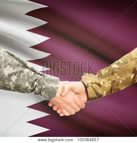 Men In Uniform Shaking Hands With Flag On Background - Qatar