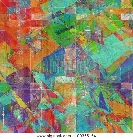 Colorful designed grunge background. With different color patterns: brown; blue; green; red (orange); purple (violet)