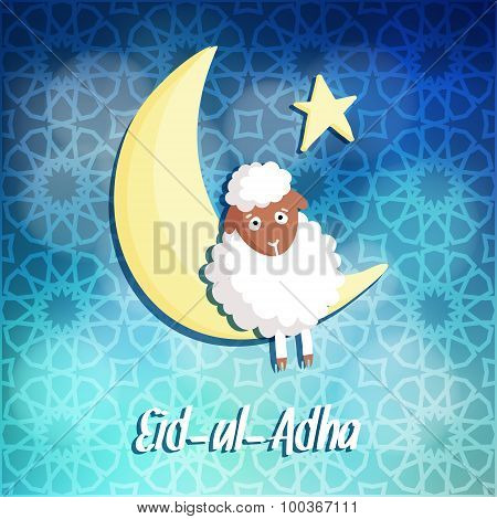 Eid-ul-adha Greeting Card With Sheep, Moon And Star, Vector