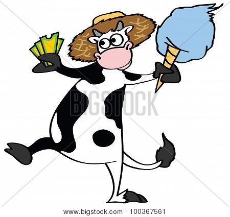 Black and white cow vector cartoon holding a pair of fair tickets