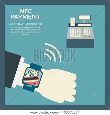 Mobile payment concept with a symbol of credit card on smartwatch NFC technology.