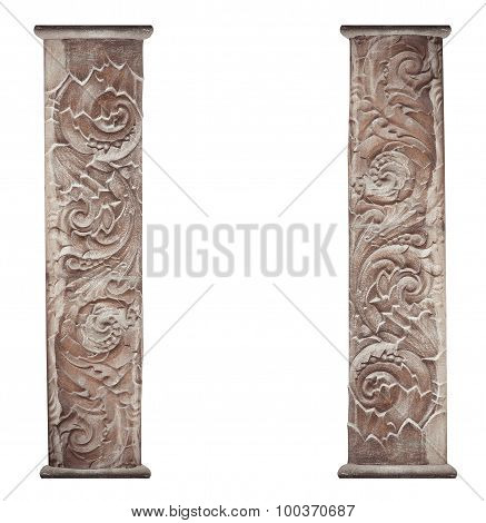 Architectural Bas-relief Isolated On White Background