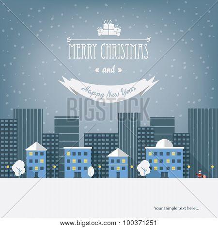 Christmas cityscape card design. Eps10 vector illustration.