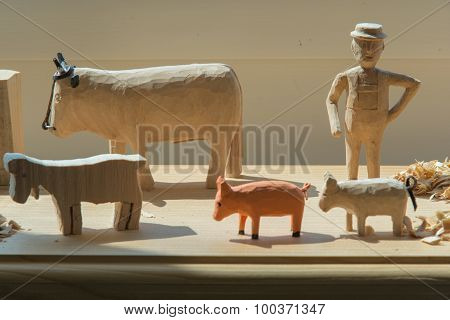 Hand-made Wooden Toys: Man And Animals