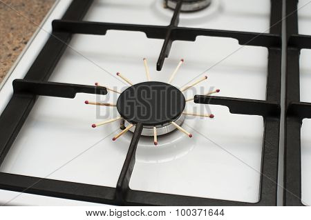 Closeup Image Ofa Gas Stove, Problem, There Is No Gas, Ukraine