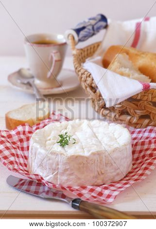 Camembert Cheese, Baguette And Cup Of Coffee
