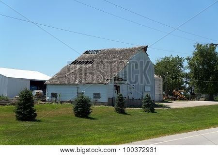 Old Barn with Broken Roof