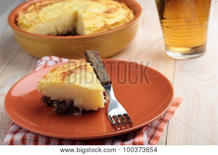 Portion of cottage pie on a plate