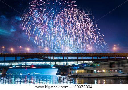 Fireworks over Moscow river - Russia.