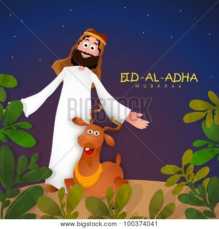 Young Muslim man with goat on nature background for Islamic Festival of Sacrifice, Eid-Al-Adha celebration.