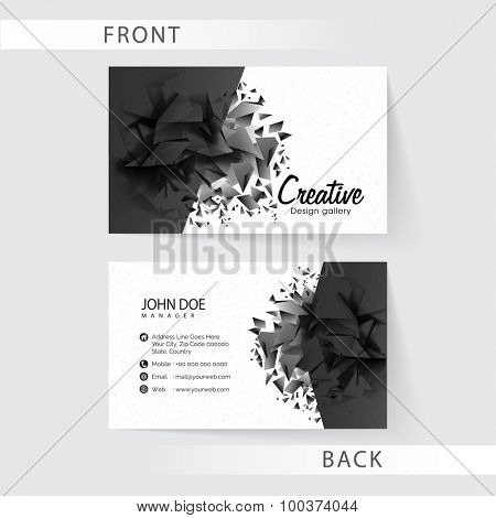 Abstract two sided business card set presentation for Creative Industry or Design Studio.