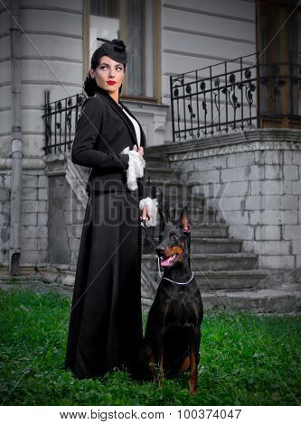 Young woman in ancient costume with dog (normal version)