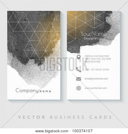 Abstract professional business card set with front and back side presentation.
