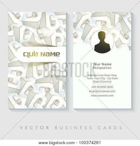 Front and back side presentation of creative business card design with text space for your professional details.