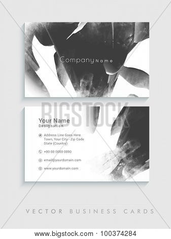Front and back side presentation of a creative business card set.