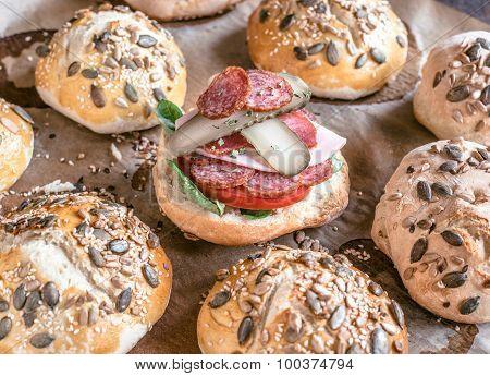 Homemade Buns Sandwich
