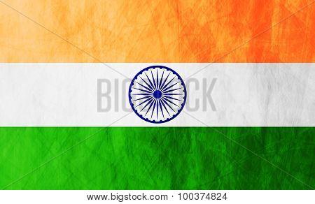 Grunge illustration of Republic of India flag. Vector background
