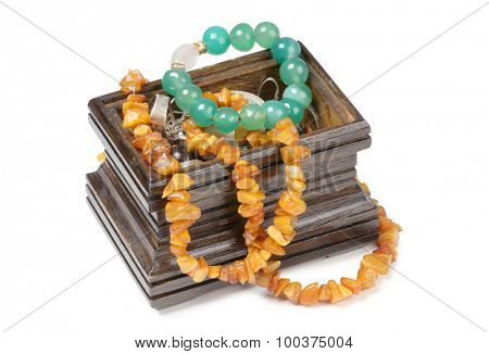 Wooden jewelry box on a white background