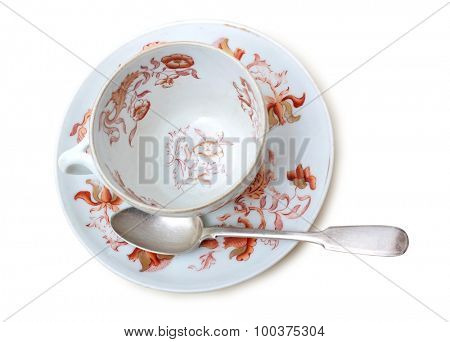 Porcelain tea cup on a white background
