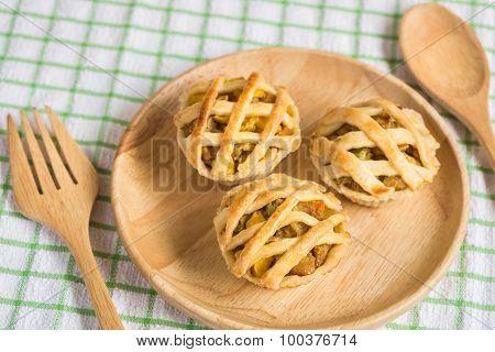 Chicken Pie On Wooden Dish