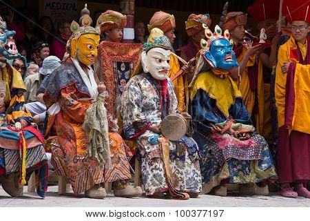 Tibetan Buddhist Lamas In The Mystical Masks Perform A Ritual Tsam Dance . Hemis Monastery, Ladakh,