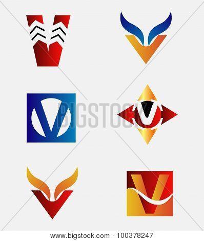 Alphabetical Logo Design Concepts. Letter V set