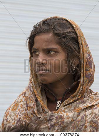Indian Beggar Girl On The Street In Leh, Ladakh. India