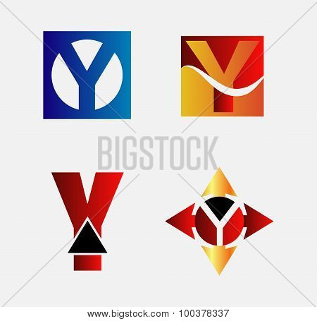 Collection of Letter Y logo symbol design template elements