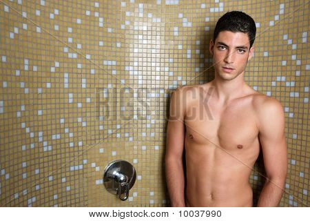 Tile Bathroom Shower Young Nude Man Posing Sexy
