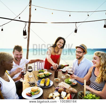 Friends Dining Summer Beach Party Cheerful Concept