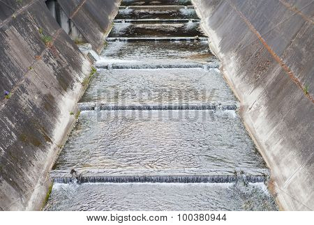Concrete canal or drainage ditch in town