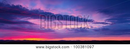 sunset sky with multicolor clouds