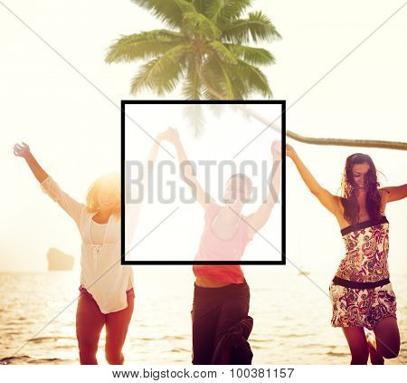 Summer Togetherness Friendship Square Copy Space Concept