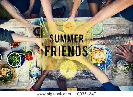 Summer Friends Beach Friendship Holiday Vacation Concept