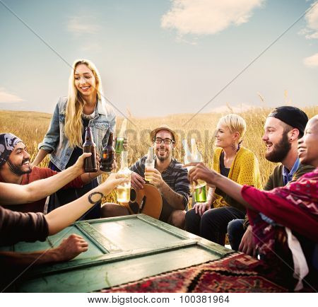 Diverse People Friends Hanging Out Happiness Concept