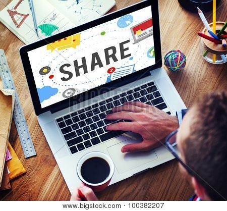 Share Sharing Connection Social Networking Concept