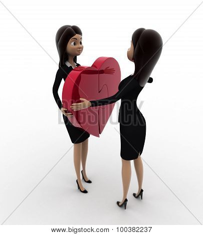 3D Woman Giving Puzzle Heart To Another Woman Concept