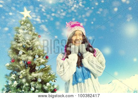 Young Women Enjoying The Snow Outdoors Concept