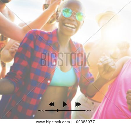 Friends Summer Vacation Beach Party Dancing Concept