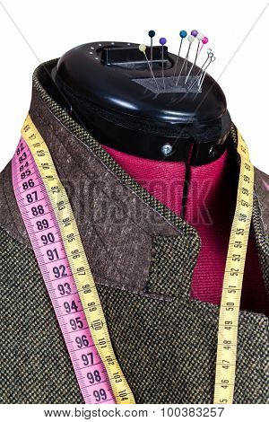 Tailoring Of Male Woolen Tweed Jacket On Dummy