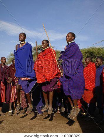 Masai Performing Warrior Dance.
